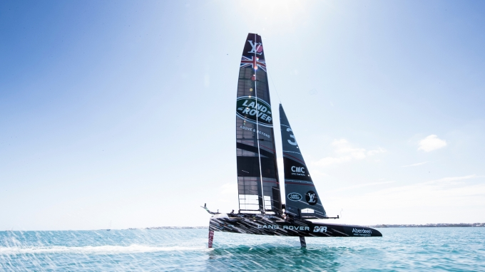 Land Rover BAR foiling on Bermuda's Great Sound