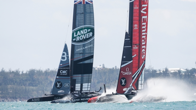 Land Rover BAR skippered by Ben Ainslie, shown here in action during their race with Emirates Team New Zealand in the 35th America's Cup Challenger Playoffs Semi-finals.Racing was abandoned after the wind dropped on June 5, 2017 on Bermuda's Great Sound